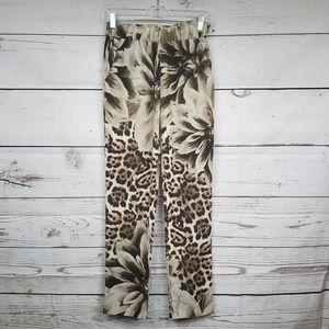 Marciano floral cheetah print dress pants w pocket